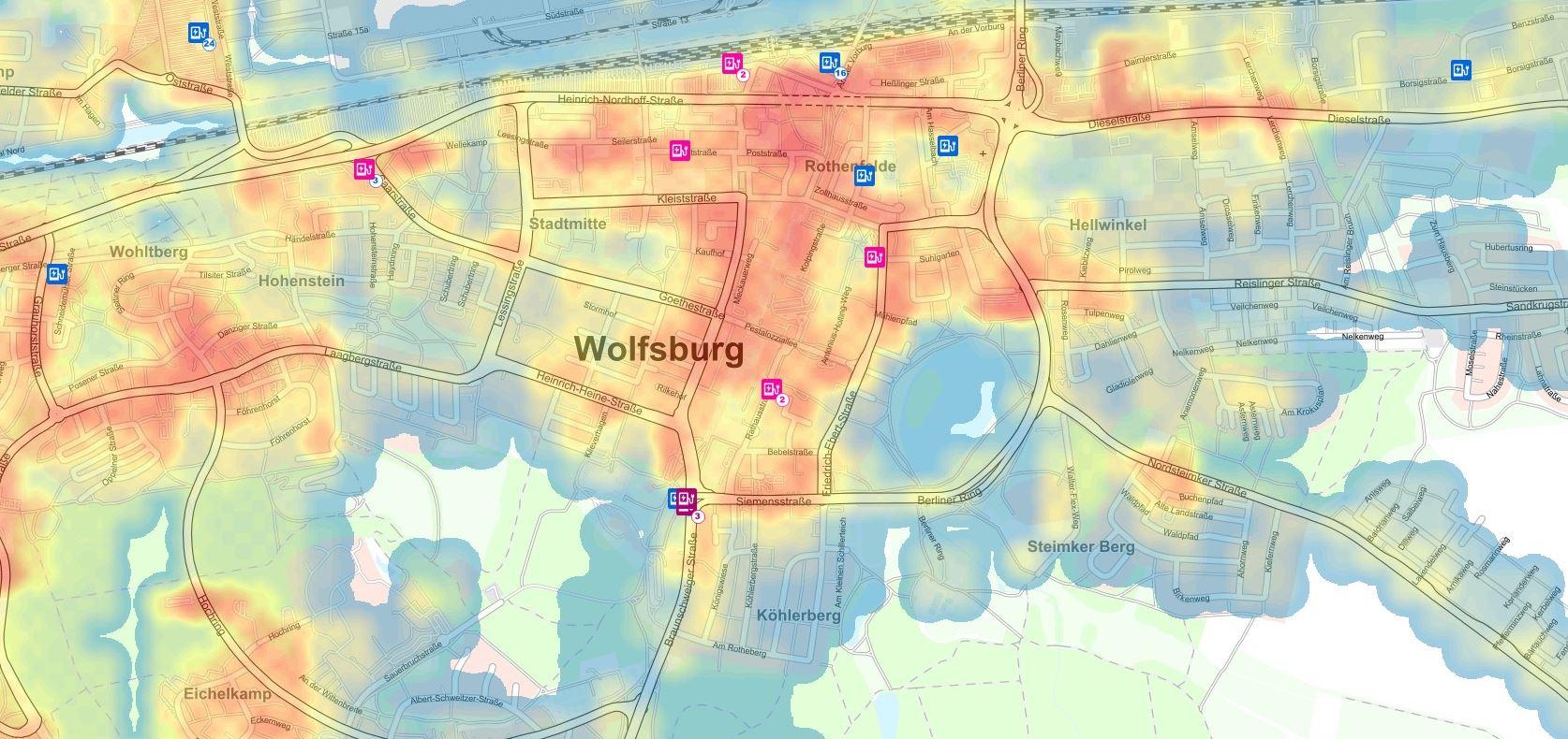 GEOLIS: EinHeatmap der Stadt Wolfsburg zeigt, welche Standorte sich gut für Ladesäulen eignen.