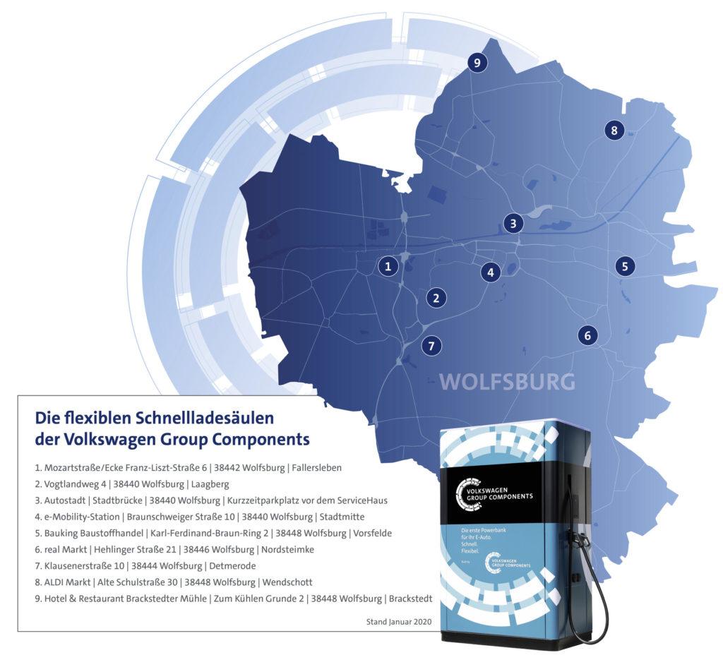 Eine Karte mit den Standorten der flexiblen Schnellladesäulen im Stadtgebiet von Wolfsburg.