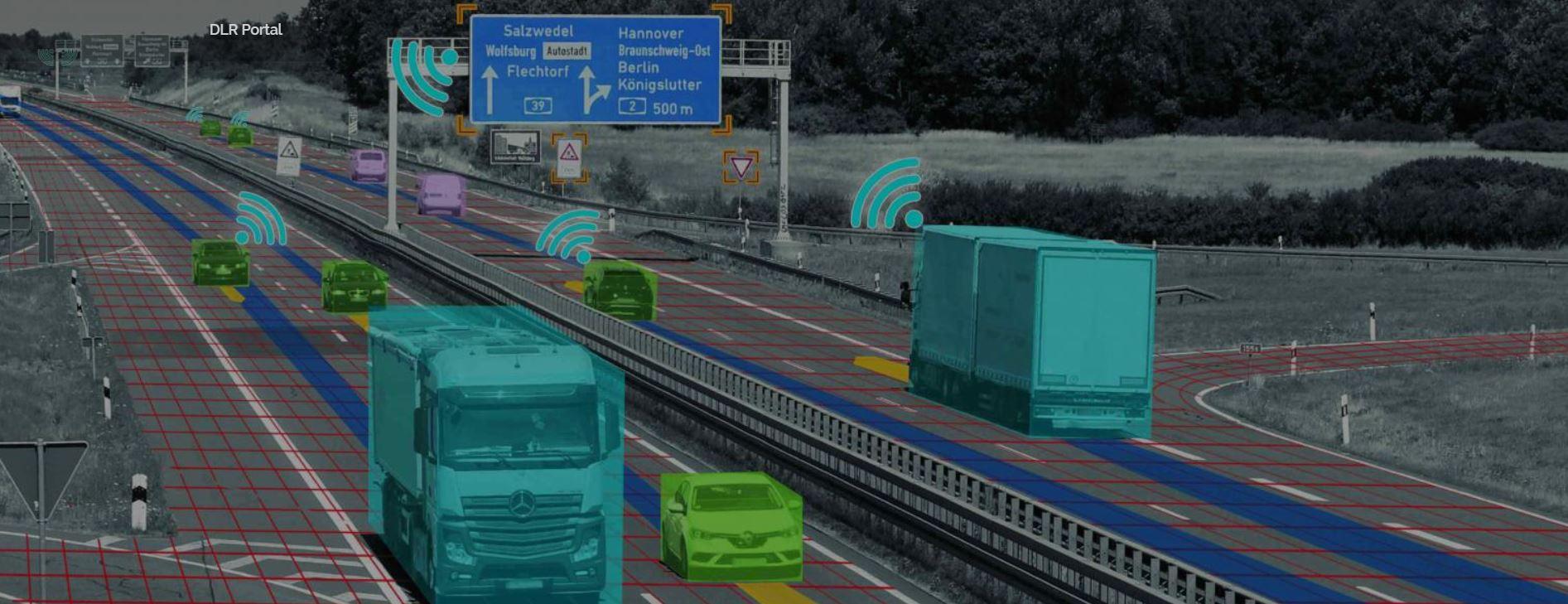 Symbolbild zur Darstellung der Sensorik auf dem Testfeld Niedersachsen mit verschiedenen Fahrzeugen