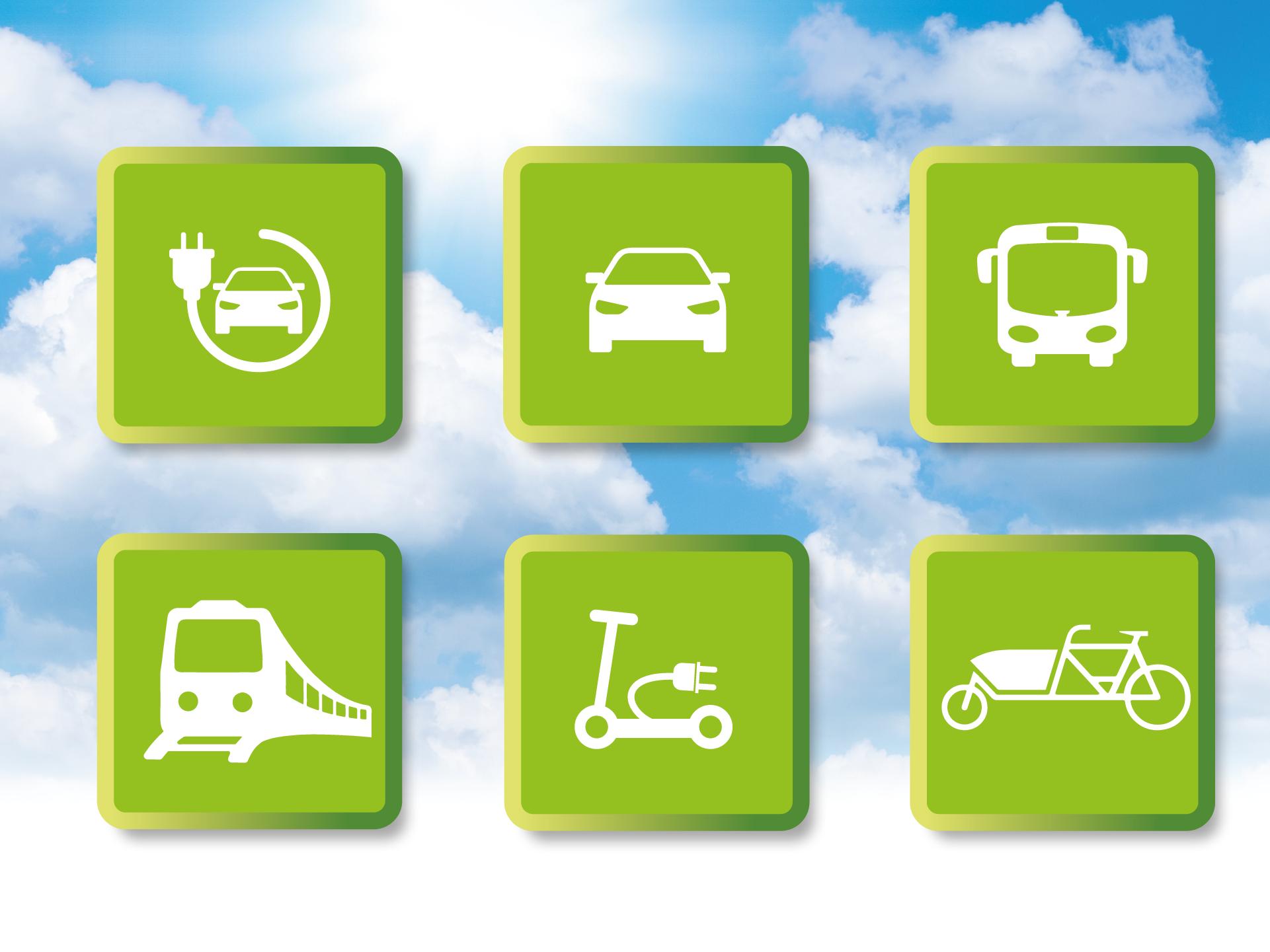 Collage mit Symbolen zur Elektromobilität als Logo für die dmt Arena 2020.
