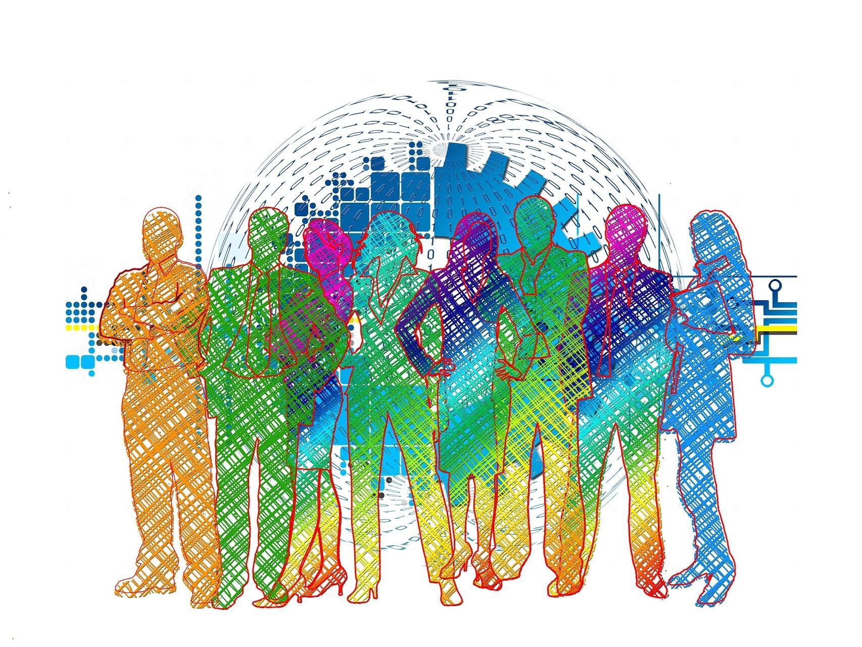Grafik mit bunten Umrissen von Menschen vor einem Symbolbild für den digitalen Wandel.