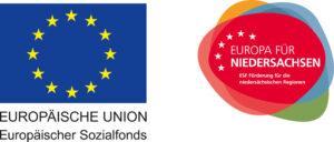 Europaflagge in blau und Logo Europa für Niedersachsen in rot nebeneinander