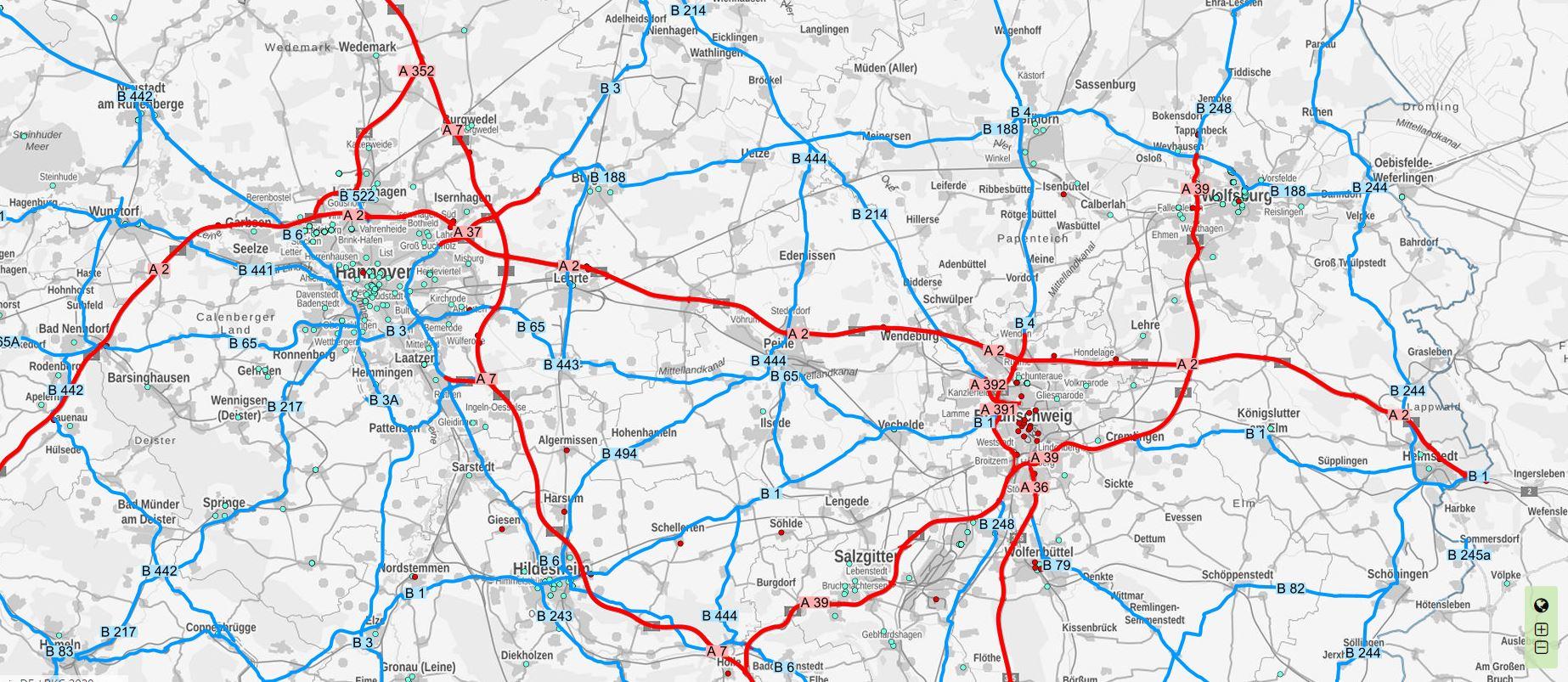 Screenshot des Ladeatlas Niedersachsen mit Fokus auf Hannover und Umgebung