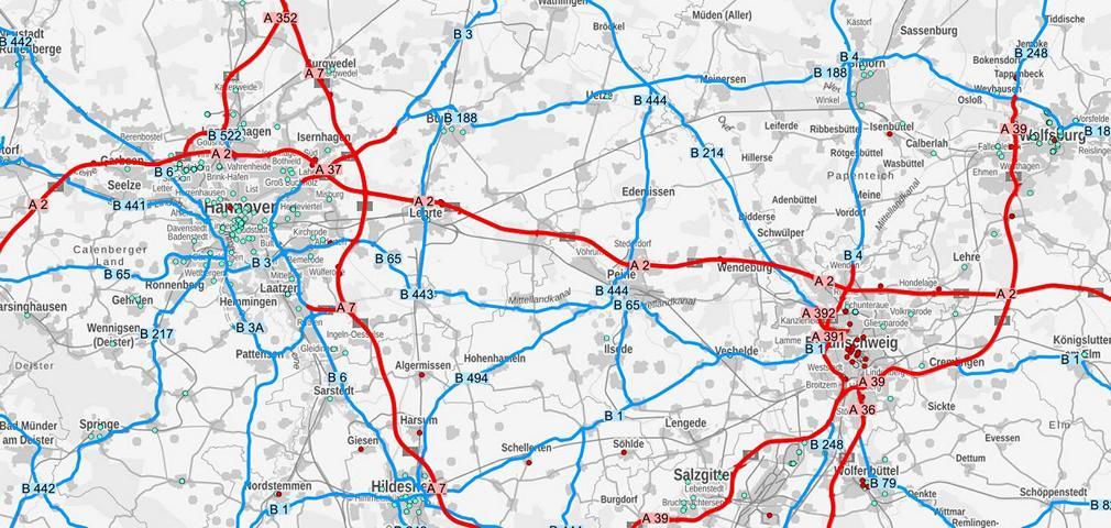 Ausschnitt Ladeatlas der Niedersächsischen Landesbehörde für Straßenbau und Verkehr