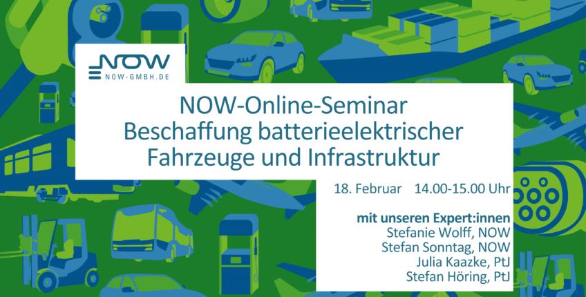 Einladungsgrafik zum Infoseminar der NOW GmbH.