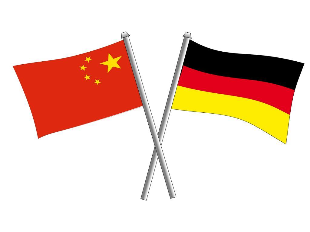 Eine chinesische und deutsche Flagge.